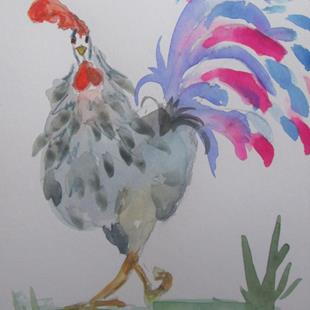 Art: Fancy Tail Rooster by Artist Delilah Smith