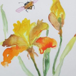 Art: Bee and Iris by Artist Delilah Smith