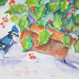 Art: Holly and Blue Jay by Artist Delilah Smith