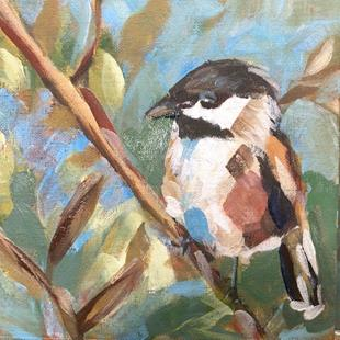 Art: black capped chickadee by Artist Cynthia Kathleen Agathocleous