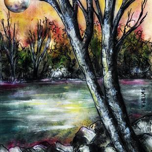 Art: It Was One of Those Nights When the Moon Got Caught in the Branches by Artist Vicky Helms