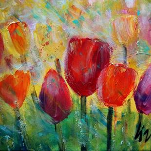 Art: Tulips in the Spring Rain by Artist LUIZA VIZOLI