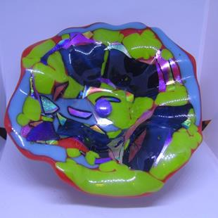 Art: Original Fused Glass Wall Flower by Artist Paul Lake, Lucky Studios