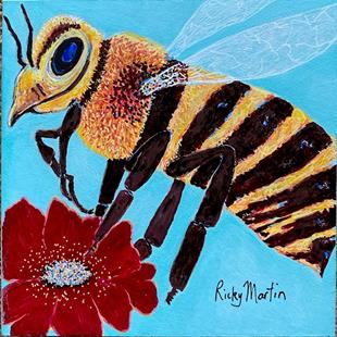Art: Bee with Flower by Artist Ulrike 'Ricky' Martin