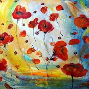 Art: POPPY FLOWERS by Artist LUIZA VIZOLI