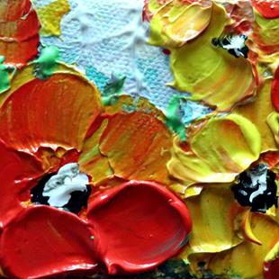 Art: RED YELLOW PETUNIAS by Artist LUIZA VIZOLI
