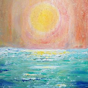 Art: The MIST  SUNRISE Beach Ocean Sand by Artist LUIZA VIZOLI