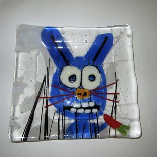 Art: Fused Glass Rabbit Art Glass Plate by Artist Paul Lake, Lucky Studios