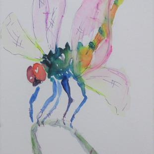 Art: Dragonfly on a Reed by Artist Delilah Smith