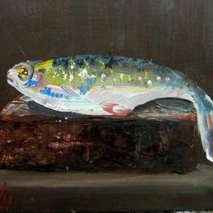Art: Fish on a Brick by Artist Delilah Smith