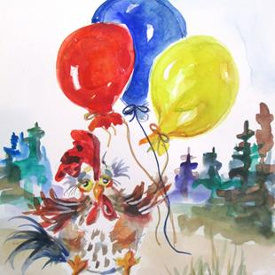 Art: Chicken and Balloon by Artist Delilah Smith