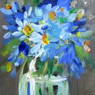 Art: Blue Flowers No. 4 by Artist Delilah Smith