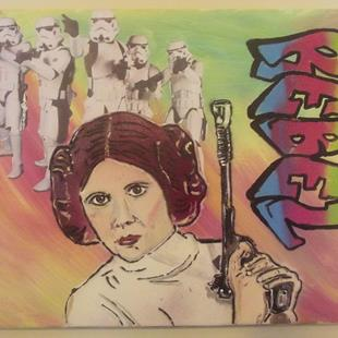 Art: Princess Leia Star Wars Rebel Original Graffiti Art by Artist Paul Lake, Lucky Studios