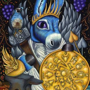 Art: King of Pentacles from the Morbidly Adorable Tarot by Artist Misty Monster (Benson)