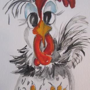 Art: Sitting Chicken by Artist Delilah Smith