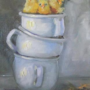 Art: Chicks in a Cup by Artist Delilah Smith