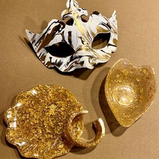 Art: Gold Leaf  Trinket Set with Mask by Artist Ulrike 'Ricky' Martin