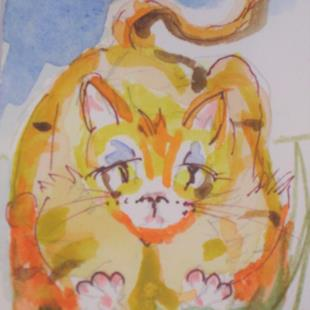 Art: Fat Yellow Cat by Artist Delilah Smith