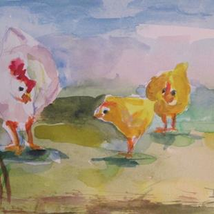 Art: Hen and Chicks by Artist Delilah Smith