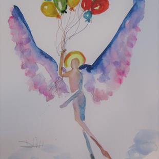 Art: Angel and Balloons by Artist Delilah Smith