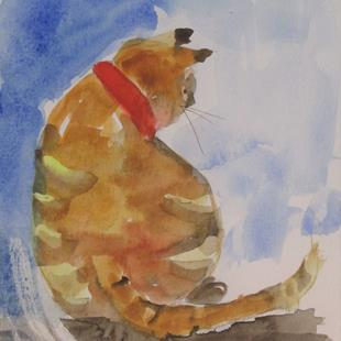 Art: Yellow Stripped Cat by Artist Delilah Smith