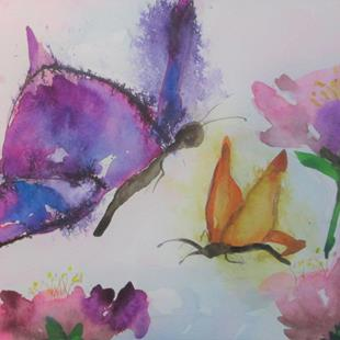 Art: Abstract Butterflies by Artist Delilah Smith