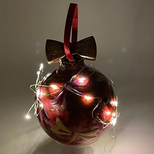 Art: Cranberry Swirl Wired Dragonfly Ball #1393053 by Artist Rebecca M Ronesi-Gutierrez