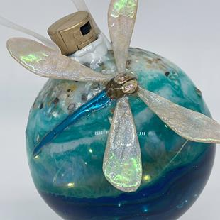 Art: Ocean Beach Resin and Glass Sculpted Dragonfly Ball #1393048 by Artist Rebecca M Ronesi-Gutierrez