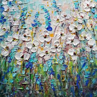 Art: Forget Me Not Wildflowers Field by Artist LUIZA VIZOLI