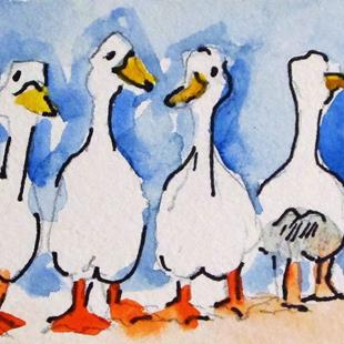 Art: Four Ducks by Artist Delilah Smith