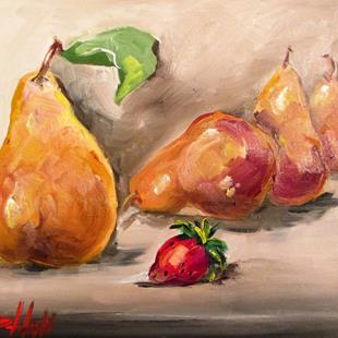 Art: Pears and Strawberry by Artist Delilah Smith