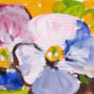 Art: Two Pansies Aceo by Artist Delilah Smith