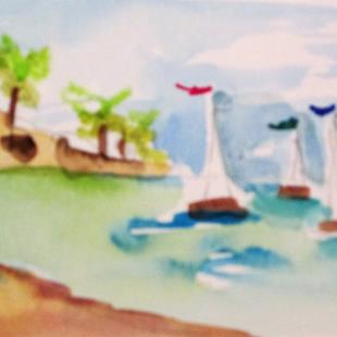 Art: Tropical Sailboats Aceo by Artist Delilah Smith