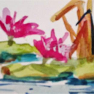 Art: Waterlilies and Rushes aceo by Artist Delilah Smith
