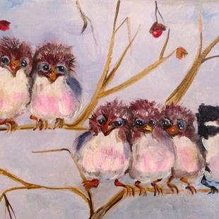 Art: A Time to Fly, Chubby Birds by Artist Delilah Smith