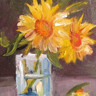 Art: Glass with Two Sunflowers by Artist Delilah Smith