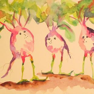 Art: Radish People by Artist Delilah Smith