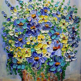 Art: COUNTRY Flowers BLUE BOUQUET by Artist LUIZA VIZOLI
