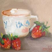 Art: Cup and Strawberries by Delilah Smith