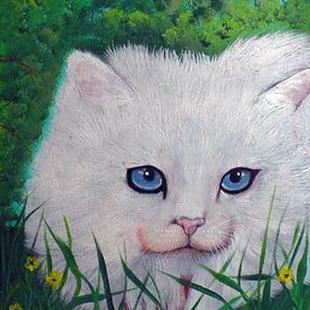 Art: White Cat by Artist Dia Spriggs