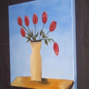 Art: TUSCAN SKY TULIPS by Artist Christa Jule Art
