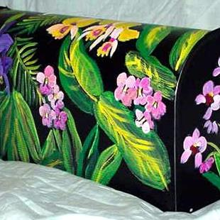 Art: Jungle Orchid Mailbox by Artist Dia Spriggs
