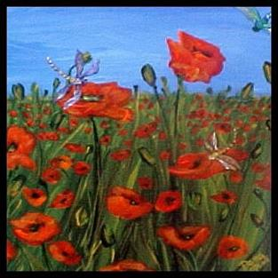 Art: Dragonflies and Poppies ~ A GIFT FOR A FRIEND by Artist Dana Marie