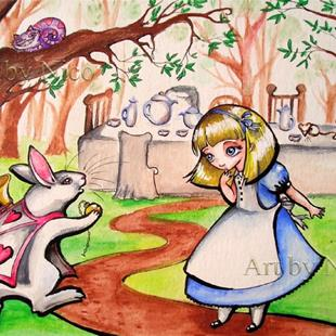 Art: Alice and the White Rabbit by Artist Nico Niemi