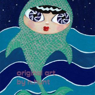 Art: Trout Girl Swims in Streams But Dreams of Stars by Artist Noelle Hunt