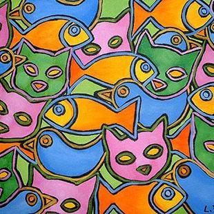 Art: Blue Bird Gold Fish Cat Heaven by Artist Lindi Levison