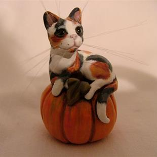 Art: Calico Cat On Pumpkin by Artist Camille Meeker Turner